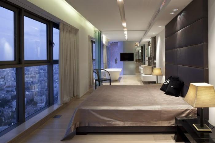Oversized headboard white gray bedroom