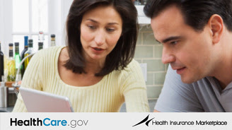 Learn more about the health insurance marketplace and enroll. Photo of woman and man reviewing information on a laptop computer.
