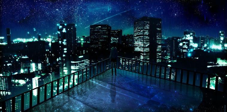 Anime City Background Night