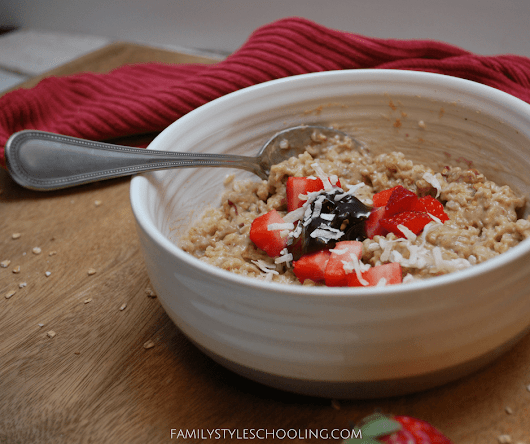 Start Your Morning Right with PB&J Oatmeal - Family Style Schooling
