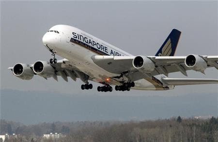An Airbus A380 jet of Singapore Airlines takes off from the airport in Zurich March 21, 2012. REUTERS/Arnd Wiegmann