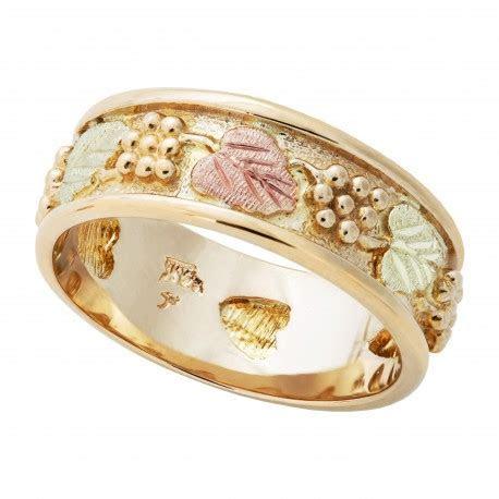 14K Tri color Black Hills Gold Wedding Ring with 12K