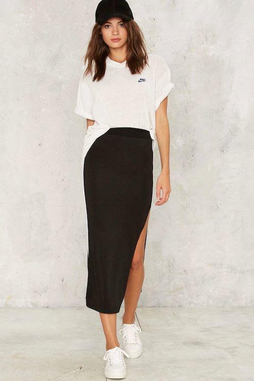 Le Fashion Blog Sporty Style Black Baseball Hat Oversize White Nike Tee Side Slit Stripe Midi Skirt Sneakers Via Nasty Gal