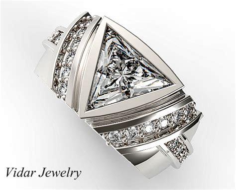 One Carat Triangle Cut Diamond Wedding Band For Mens