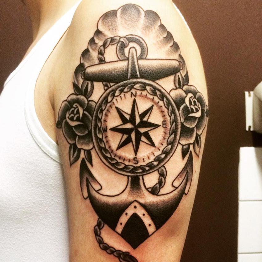 Nautical Anchor Tattoo On Left Shoulder