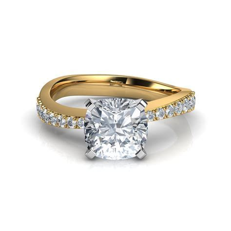 Tapered Pave Cushion Cut Engagement Ring Natalie Diamonds