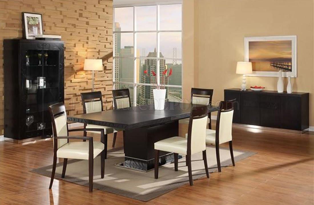 Wenge Matte Finish Modern Dining Room w/Pedestal Base Table