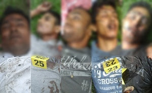 bdnews24.com finds the images of five dead attackers provided by police disturbing and so blurs those in this compilation.