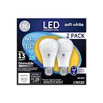 GE Lighting 3768637 LED Bulb 10 watt 800 Lumens 3000 K Dimmable A19 Soft White 60 watt Equivalency