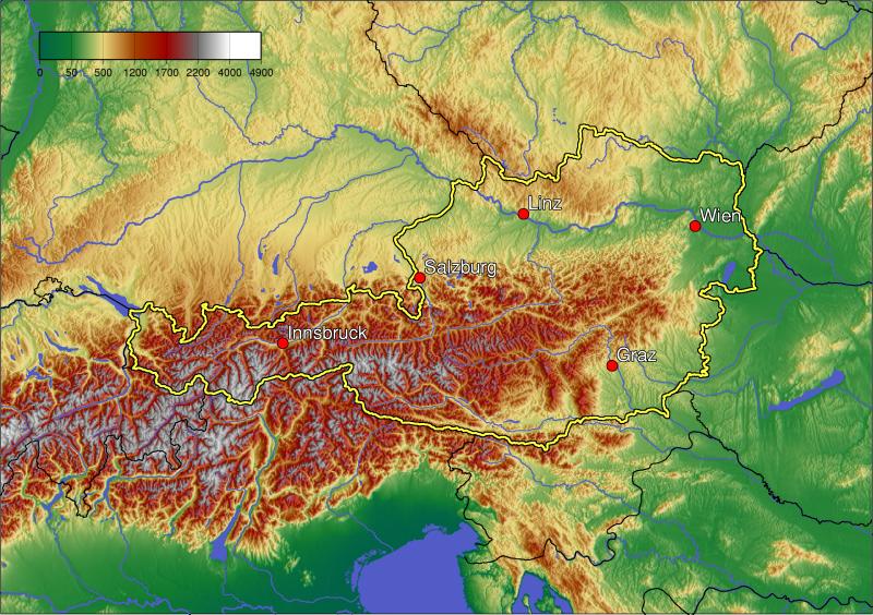 topographic map of Austria
