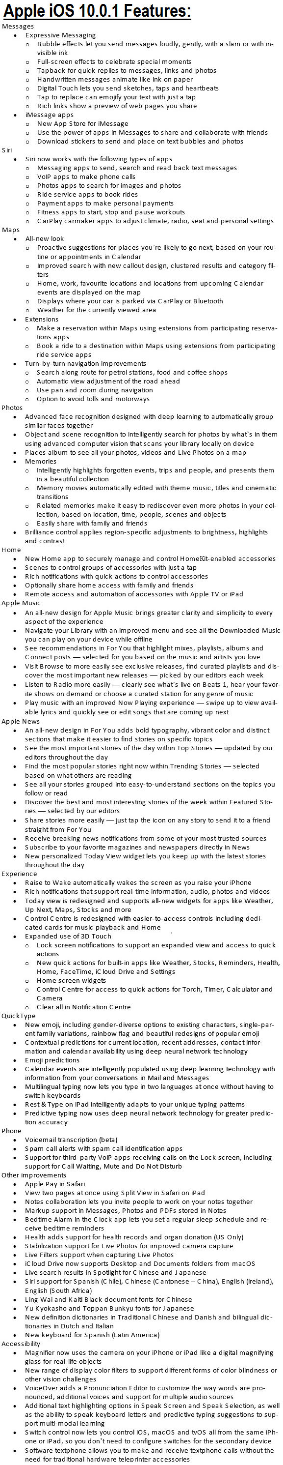 Apple iOS 10.0.1 Features