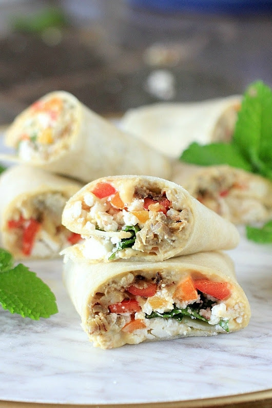 Sabra Hummus Veggie Wraps with Eggplant, Peppers, Mint, & Feta Cheese