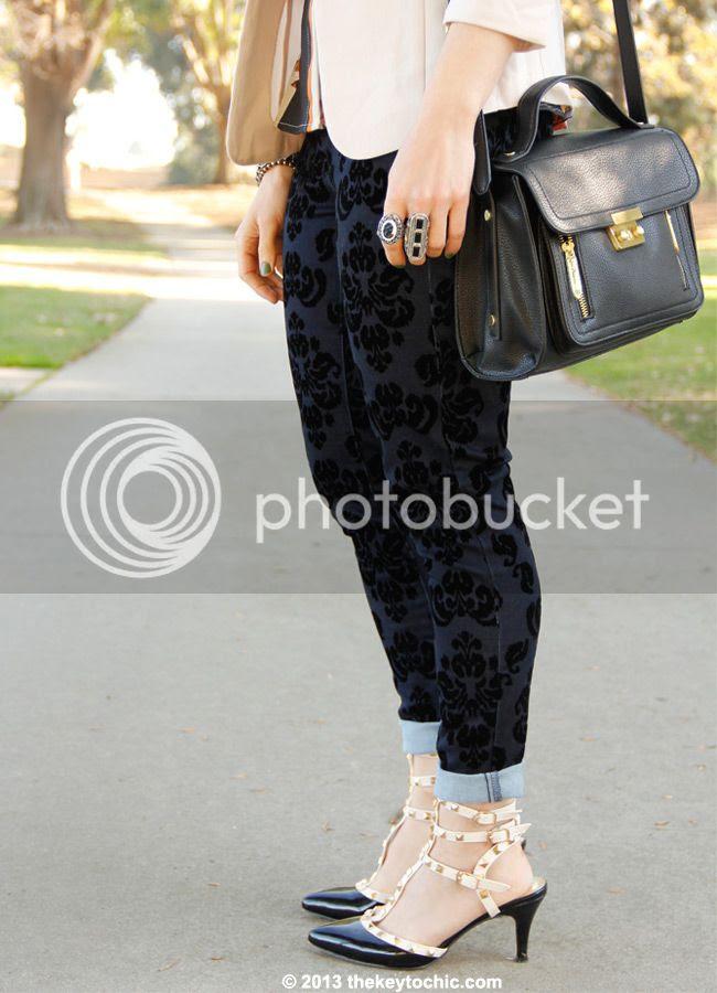 Phillip Lim for Target black satchel, Mossimo velvet print brocade jeans, Valentino Rockstud look alike heels
