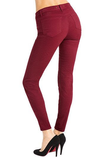 J Brand Mid-Rise Skinny Leg Jean in Black Cherry