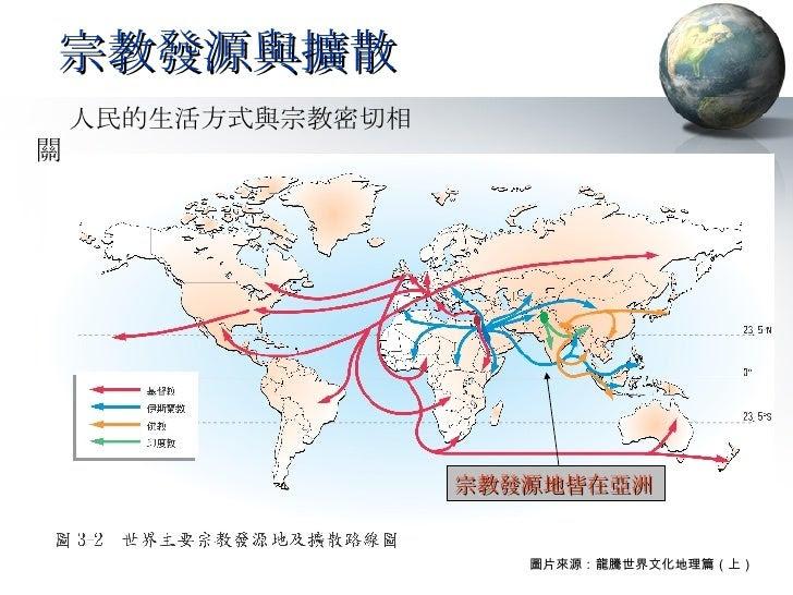 宗教發源與擴散  人民的生活方式與宗教密切相關 宗教發源地皆在亞洲 圖片來源:龍騰世界文化地理篇(上)