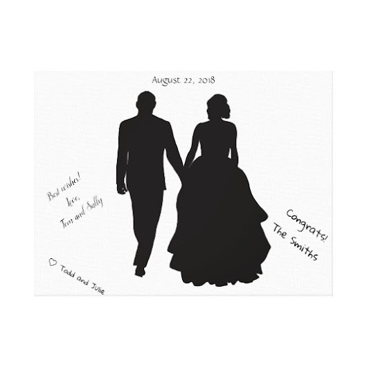 Wedding Guest Book Couple Silhouette Canvas