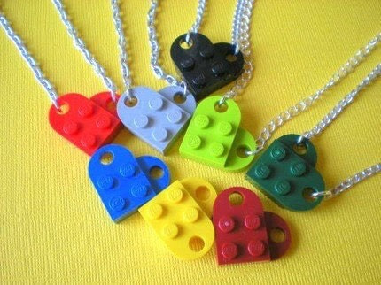 YELLOW Lego Heart Necklace