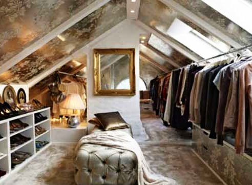 Attic-turned-fabulous-closet using attic space