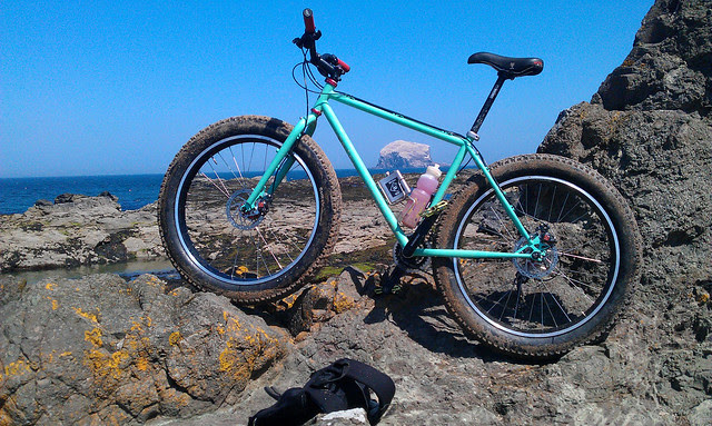 Surly Pugsley at Canty Bay, East Lothian.
