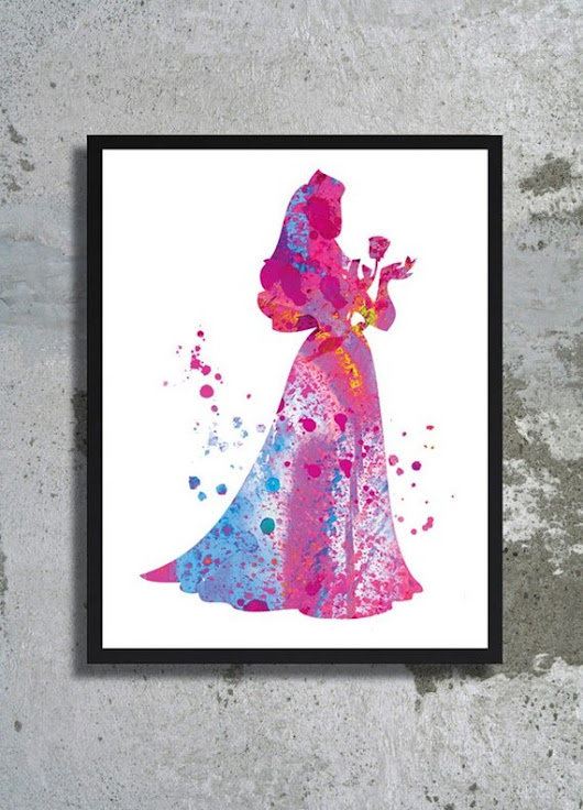 Sleeping Beauty Aurora Disney Princess Watercolor by BogiArtPrint