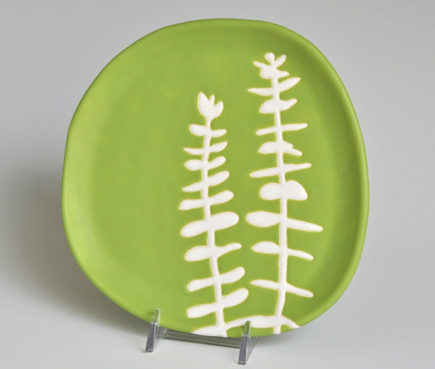 appetizer or dessert plate - eucalyptus in chartreuse green - home decor and serving dish - hopejohnson