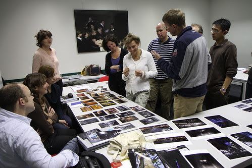 Discussing photos at the photography course