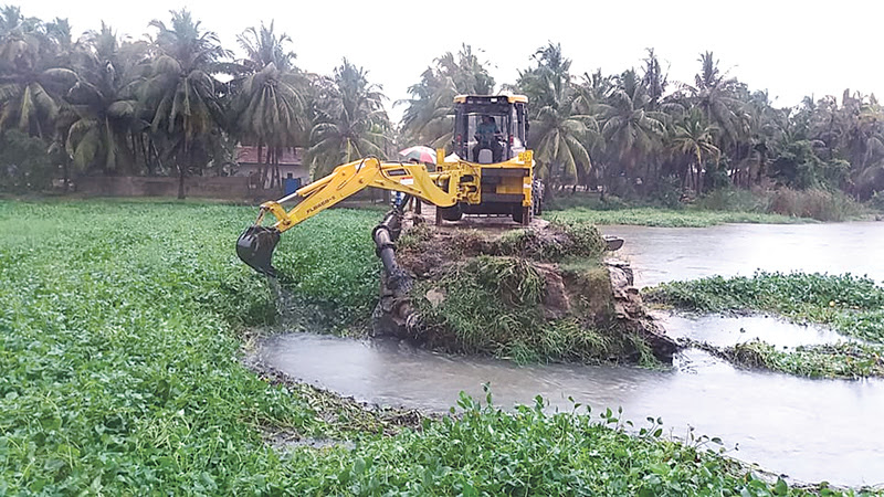 Nearly 2,000 acres of paddy fields inundated