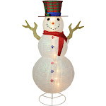 Northlight Seasonal 72in. Pre-Lit Glitter Snowman Decoration White