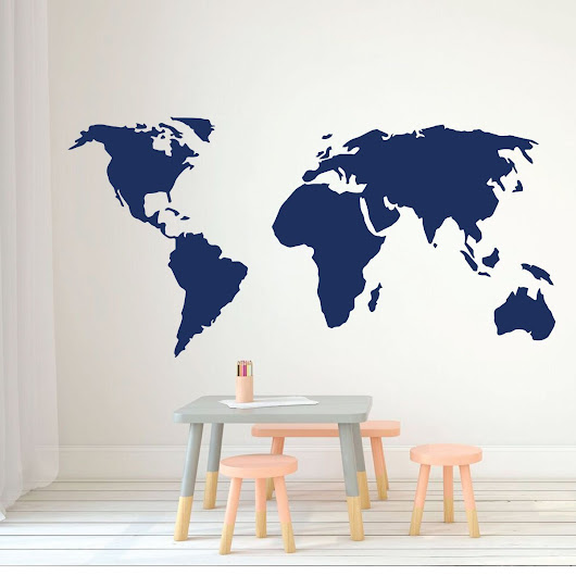 World Map Vinyl Wall Art - Perfect for the Home or Classroom