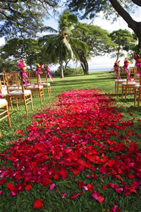Red wedding flowers: Blue Sky Weddings Maui