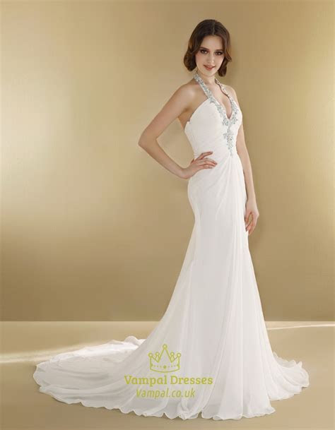 Halter Wedding Dress With Long Train,Simple Halter Neck