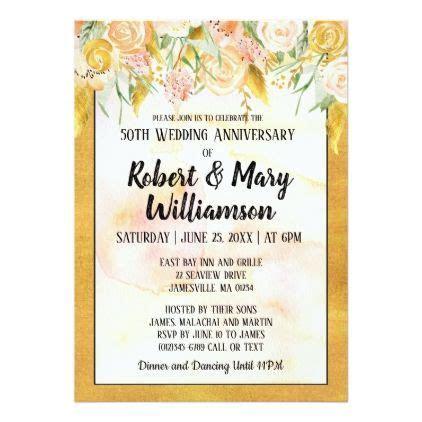 Gold Floral 50th Wedding Anniversary Invitation   Zazzle