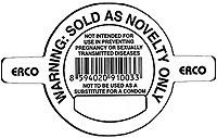 Novelty condom disclaimer.