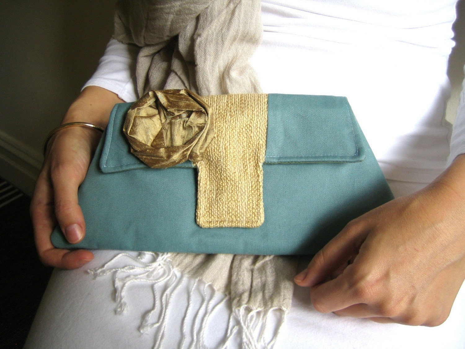 The Jacqueline Clutch in Teal and Gold