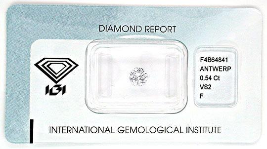 Foto 1, Diamant IGI!!, Brillant 0,54ct feines Weiss Plus Juwel!, D5555