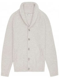 Reiss Butler Shawl Collar Cardigan Ecru