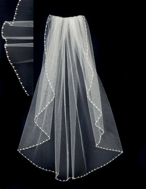 Wedding Veil with Pearls Waist Length   Dresses   Wedding