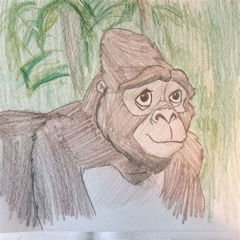 colored pencil drawing  kala  mother gorilla