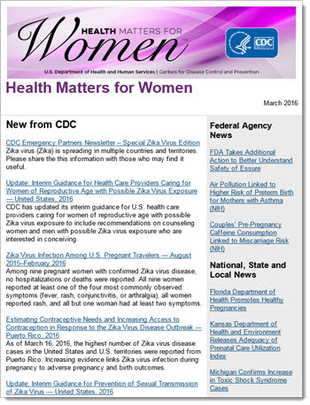 thumbnail image of the womens health newsletter