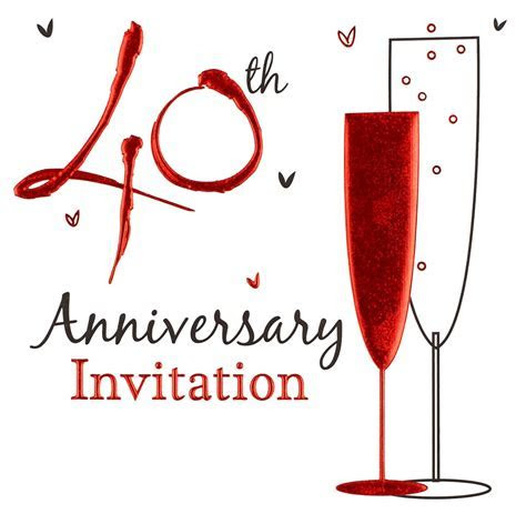 Pack of 6 Ruby 40th Wedding Anniversary Party Card