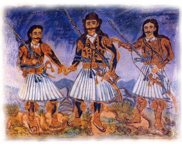 Από αριστερά προς τα δεξιά: Μάρκος Μπότσαρης, Οδυσσέας Ανδρούτσος, Αθανάσιος Διάκος. 'Εργο του Θεόφιλου.