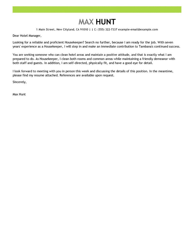 Best Housekeeper Cover Letter Examples Livecareer