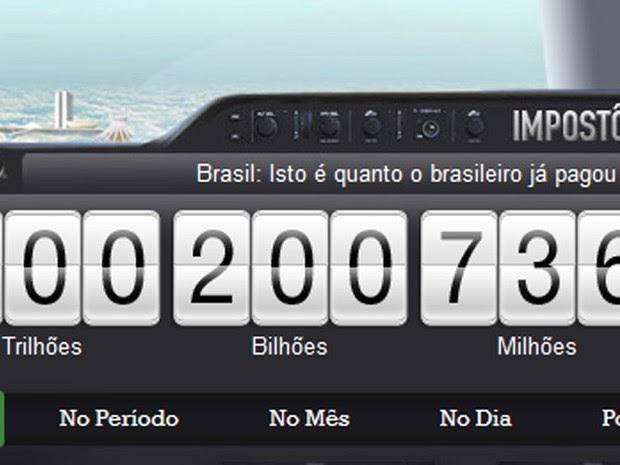 Impostômetro atinge R$ 2 bilhões neste domingo (31) (Foto: Reprodução/Impostômetro)