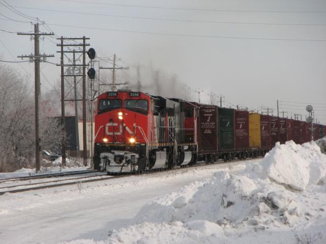 CN 2256 in the snow in Winnipeg