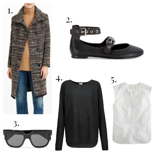 Club Monaco Coat - Rebecca Minkoff Flats - Oliver Peoples Sunglasses - Vince Sweater - Thomas Mason for J.Crew Shirt