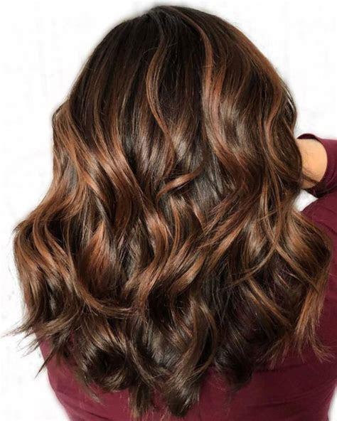 dark brown hair styles  highlights  lowlights