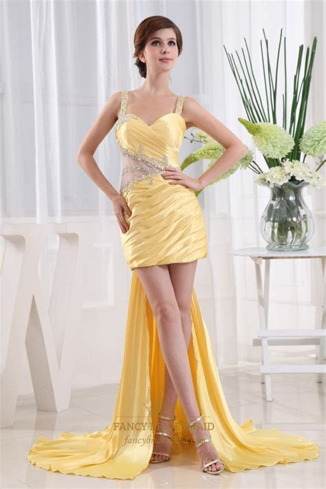 Short Prom Dress With Detachable Train, Yellow High Low