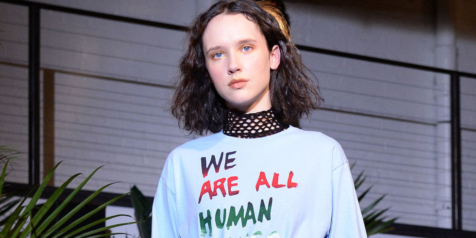 'We are all human' top at Creatures of Comfort at NYFW17 | ELLE UK