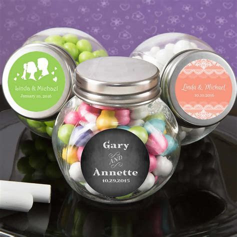 Personalized Glass Candy Jar Wedding Favors   FREE