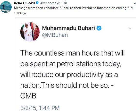 Reno Omokri shares President Buhari's old tweet reacting to the Fuel scarcity during Goodluck Jonathan's administration